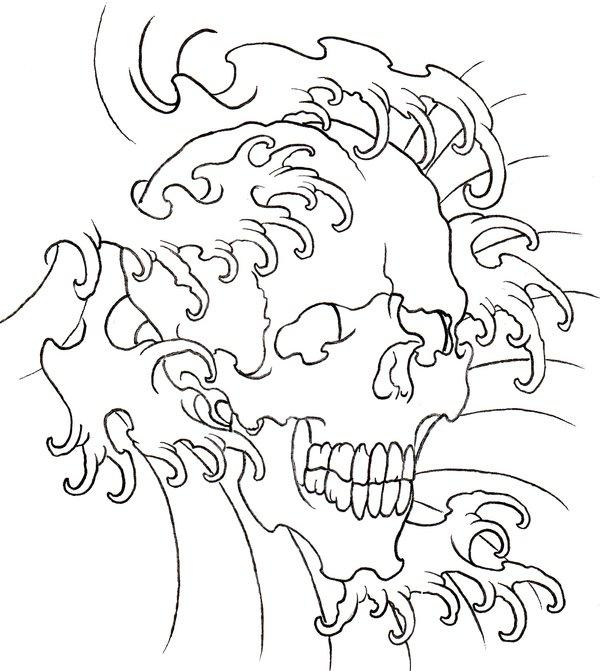 Black Outline Skull With Water Wave Tattoo Stencil By Arnt Erik Hedman