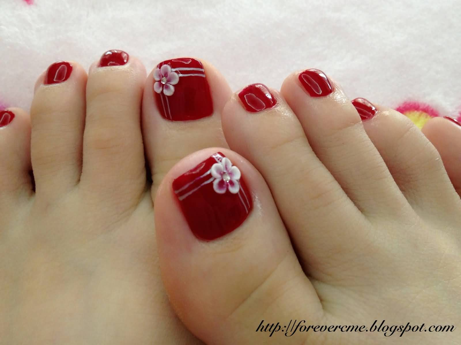 50 Most Beautiful And Stylish Flower Toe Nail Art Design