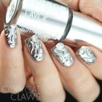 Baby Pink Nails With Silver Metallic Nail Art