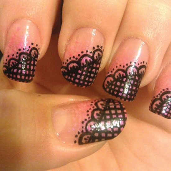 Black And White Beautiful Lace Design Nail Art