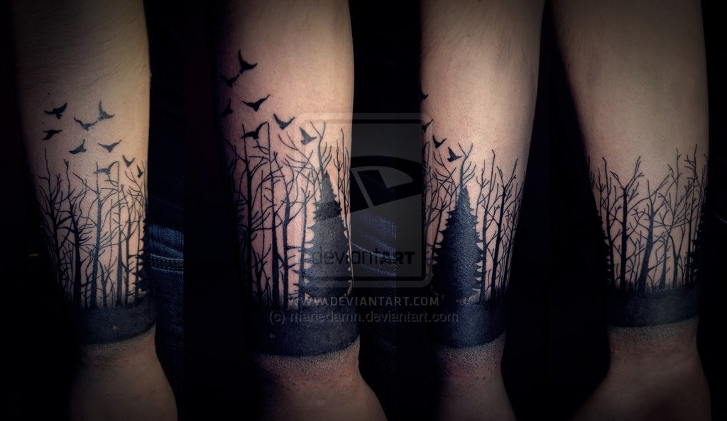 Forest Tattoo On Full Sleeve By Jacob Pedersen