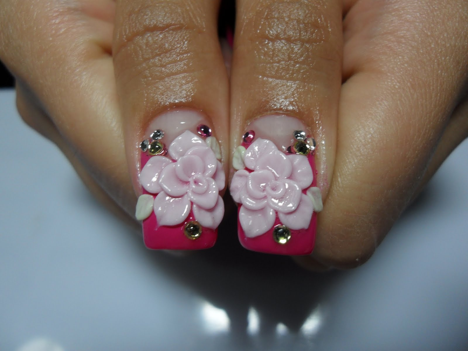 Baby Pink 3d Flowers Nails Art