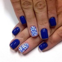 Blue And White Gingham Nail Art Design