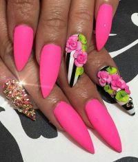 42 Most Beautiful Pink Stiletto Nail Art Design Ideas For ...