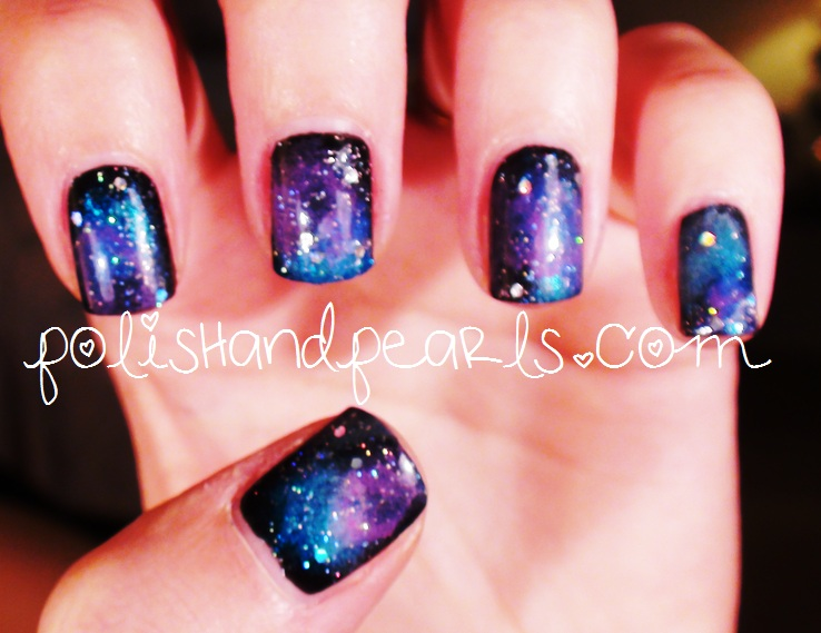 Purple Blue And Black With White Dots Galaxy Nail Art Wit