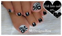 60+ Stylish Black And White Nail Art Designs For Toe Nails