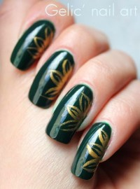 75 Most Beautiful Green And Gold Nail Art Design Ideas