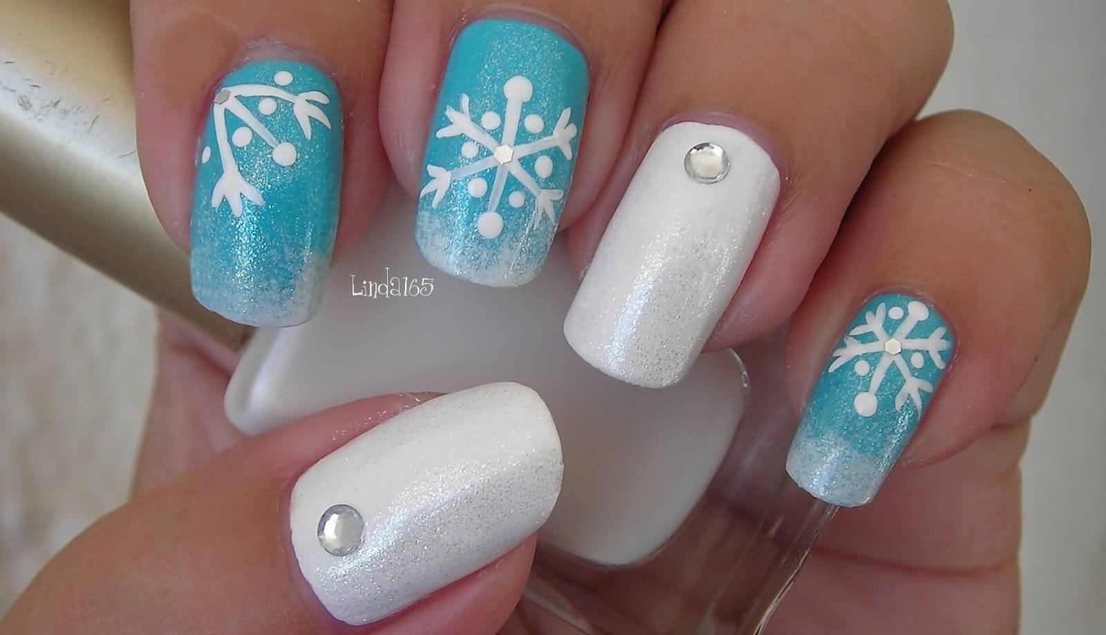 Blue Nails With White Snowflakes Design Nail Art Tutorial