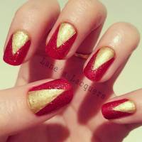 52+ Red And Gold Nail Art Designs For Trendy Girls