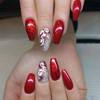 Red And Silver Glitter Gel Nail Art With White Lace Design ...