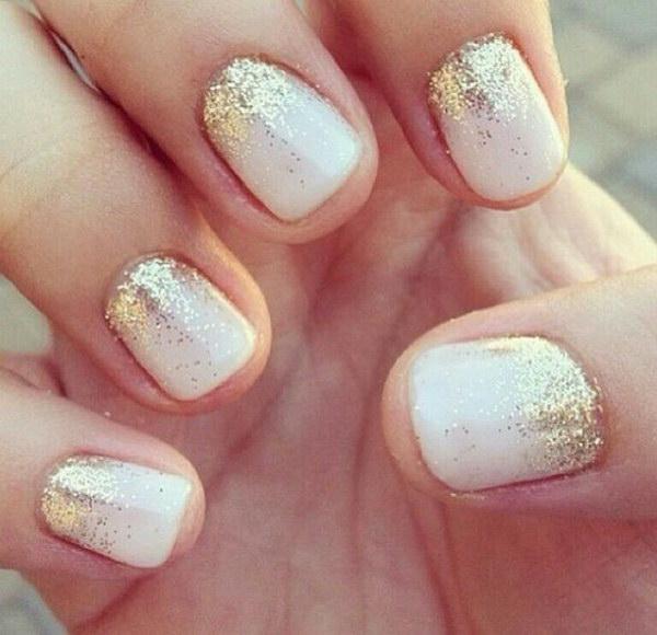 White And Gold Glitter Gradient Nail Art