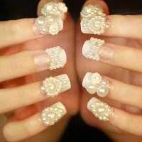 Beautiful Wedding Pearls Nail Art Design