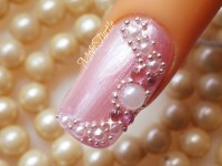 Pink Nails With Pearls Design Bridal Nail Art With ...