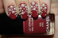 Red Nails With Pearls Design Nail Art