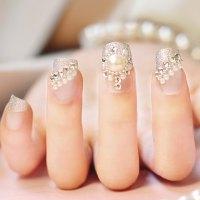 Rhinestones And Pearls Design Nail Art