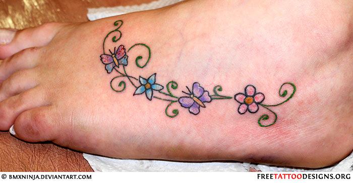 72 Best Flower Tattoos On Foot