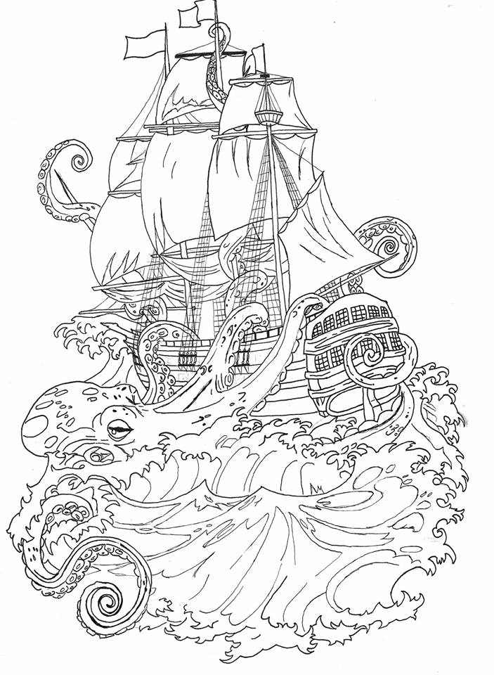 pirate ships tattoos drawings