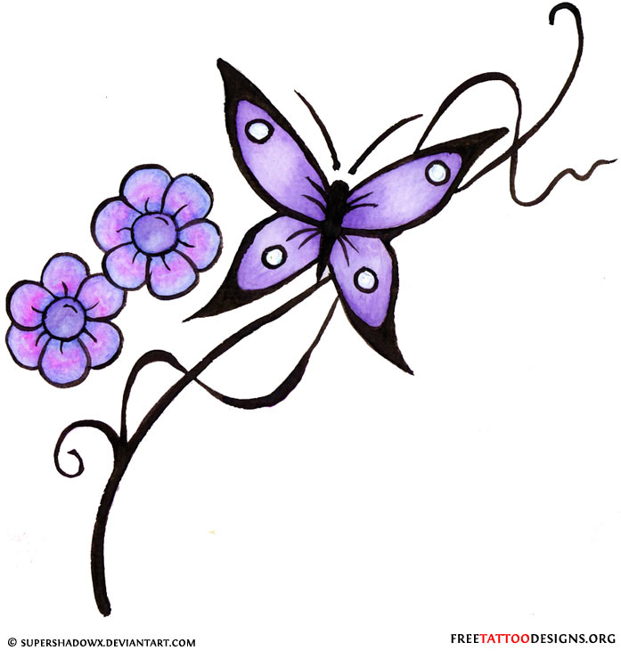 Purple Flowers And Purple Butterfly Tattoo Design