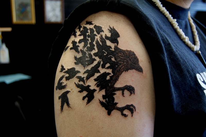 Right Shoulder Black Crow Tattoo For Men
