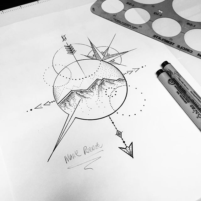 Mountains Compass Tattoo Design
