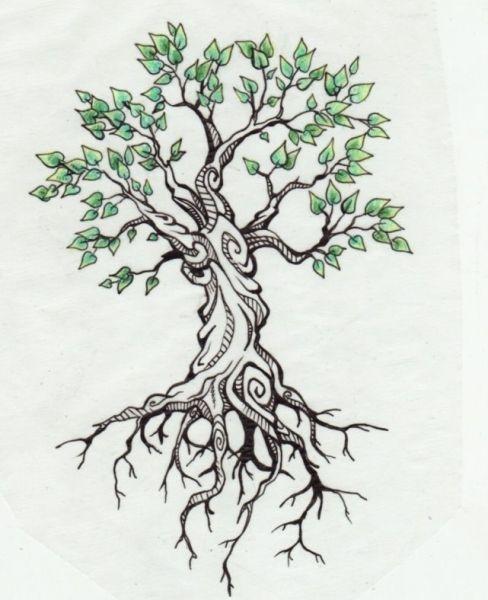 Small Green Leaves Tree Tattoo Design