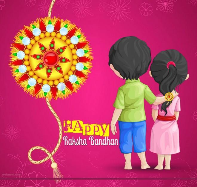 Rakhi 3d Name Wallpaper Happy Raksha Bandhan Brother And Sister Greeting Card