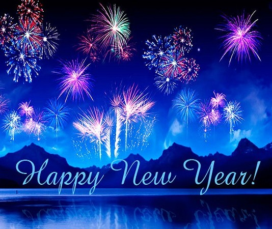 Happy New Year colourful crackers blue background image