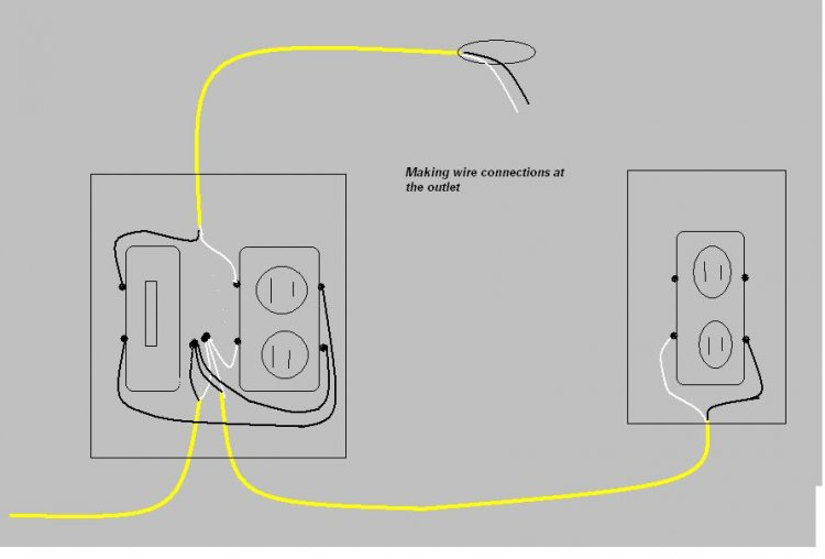 wiring a light switch from receptacle