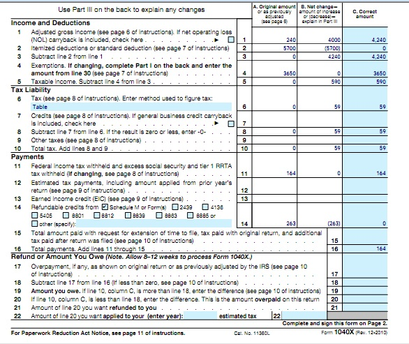 Earned Income Tax Credit Internal Revenue Service Ameding Tax Return For F 1 Student