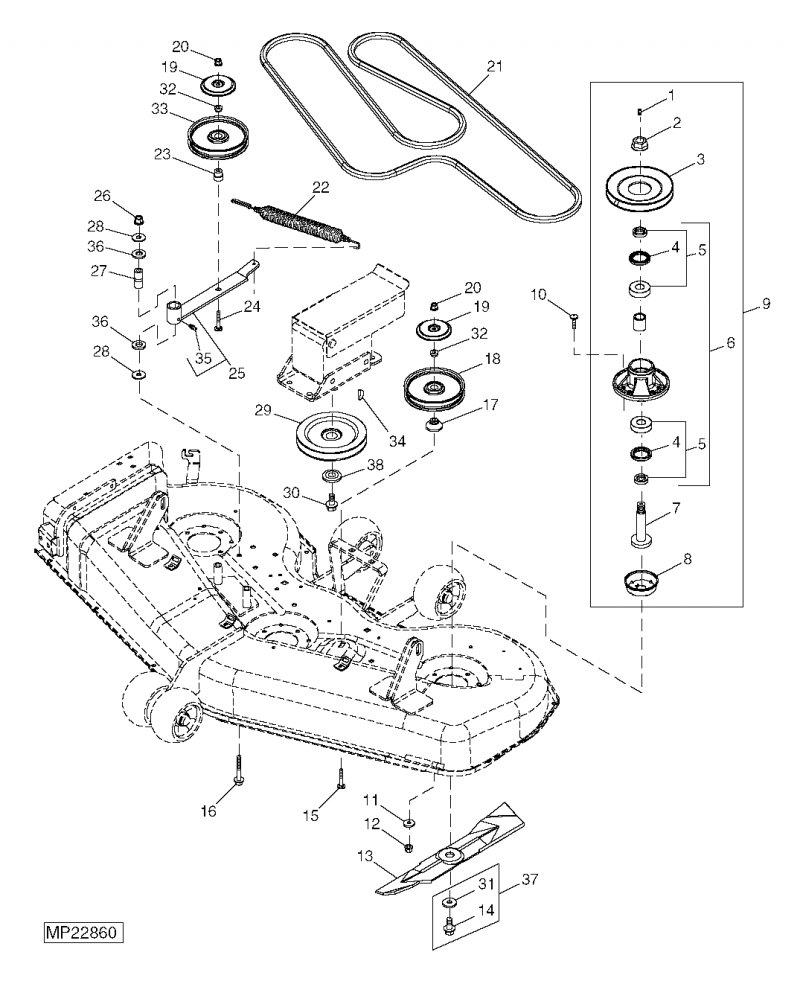 cub cadet lt1042 mower deck diagram