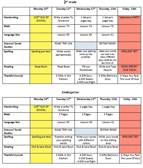 Homeschool:  Weekly Planner Spreadsheet