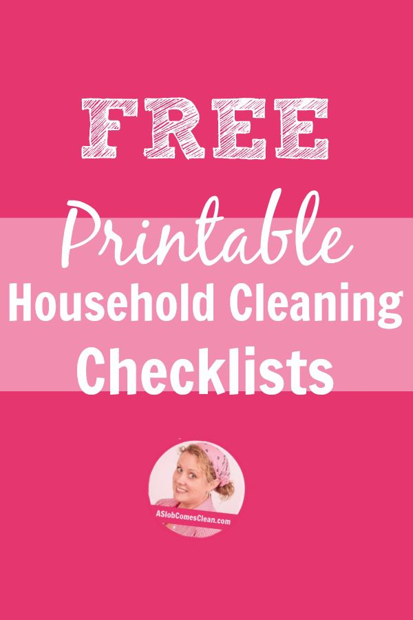 Printable Household Cleaning Checklists A Slob Comes Clean - housekeeper cleaning checklist