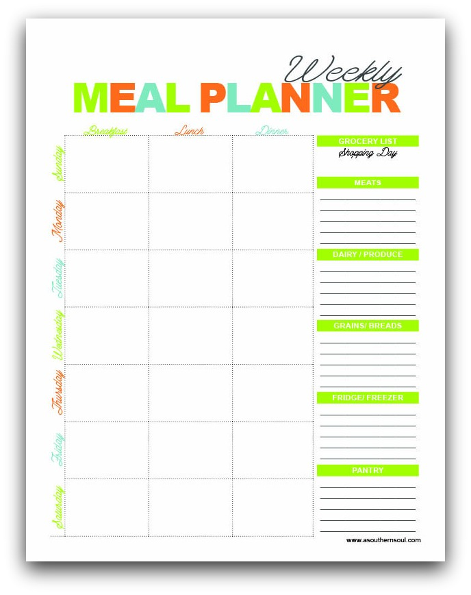 Free Meal Planning Printables - A Southern Soul