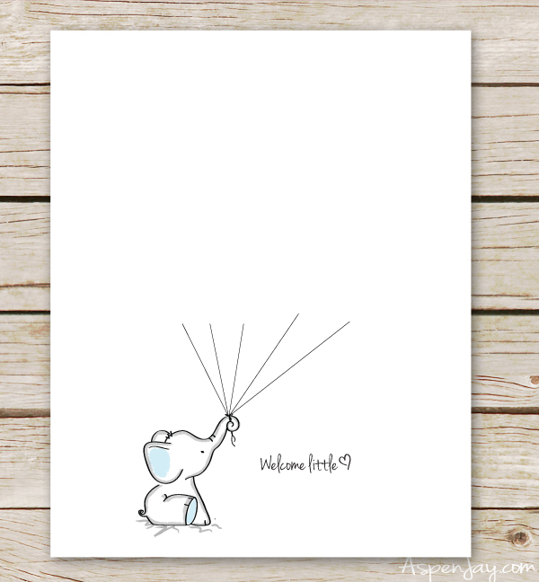 Elephant Baby Shower Guest Book Printable - Aspen Jay - guest book template