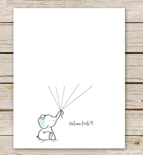 Elephant Baby Shower Guest Book Printable - Aspen Jay