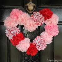 Tissue Paper Heart Wreath Tutorial