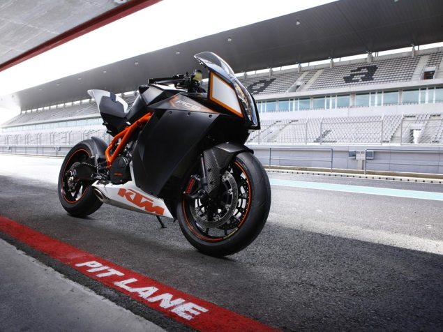 KTM Speaks on Ownership Rumors   Denies What? KTM RC8 R pit lane 635x476