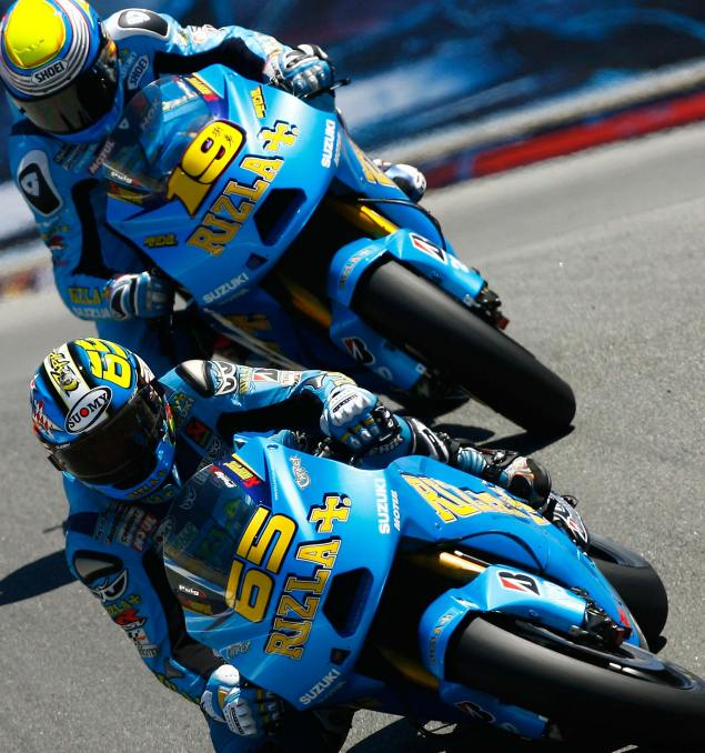 Suzuki to Stay in MotoGP Through 2011 Rizla Suzuki MotoGP Laguna Seca corkscrew 1499x1600