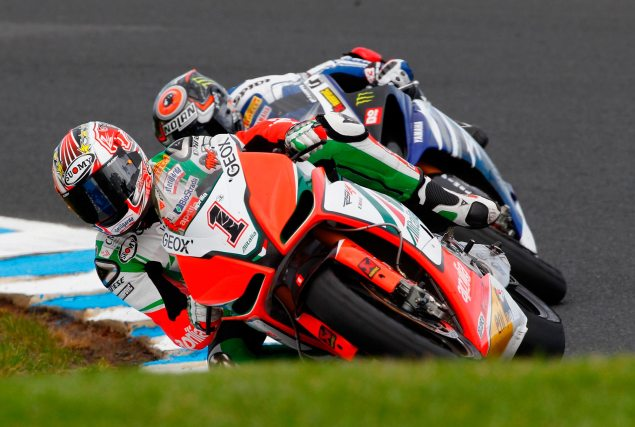 Someone Forgot to Tell Aprilia and Ducati That They Werent Supposed to Be Fast This Year Max Biaggi Phillip Island 635x427