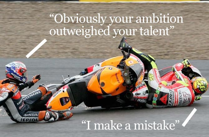 Casey Stoner Valentino Rossi crash Jerez Spanish GP motogp qutoes