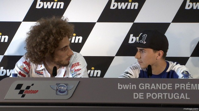 Simoncelli vs. Lorenzo: The Estoril Pre Race Transcript Marco Simoncelli Jorge Lorenzo press conference Estoril 635x357
