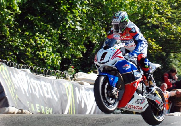 IOMTT: Come From Behind Win on Delayed Senior TT John McGuinness Ballaugh Bridge Isle of Man TT 635x444