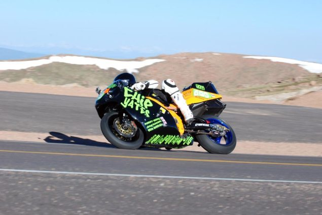 On Board Chip Yatess Electric Superbike at Pikes Peak chip yates pikes peak international hill climb 2 635x425