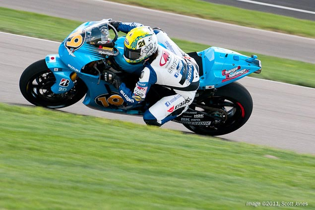 Elena Myers Rides The Brickyard on the Suzuki GSV R Elena Myers Rizla Suzuki MotoGP Indianapolis Motor Speedway Scott Jones 6