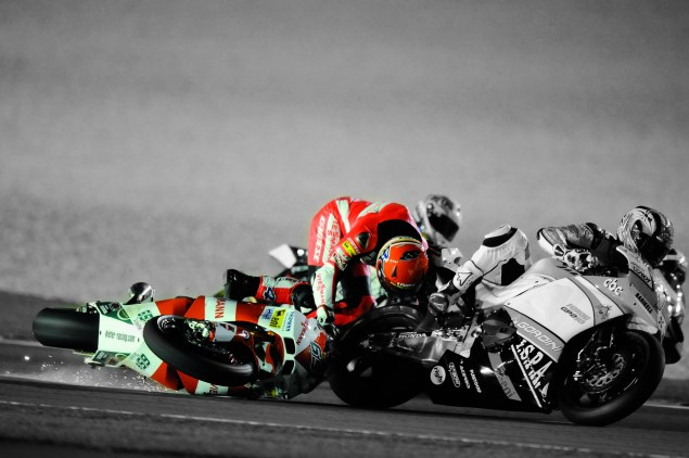 The Dainese D Air Racing Airbag Suit Comes to America Stefan Bradl Dainese D Air Racing suit crash Qatar 2010 01 635x422