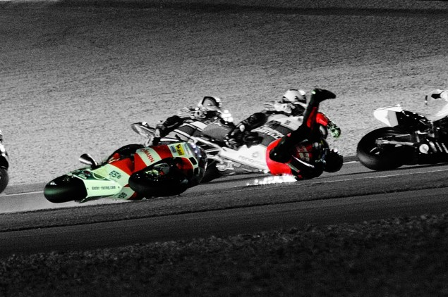 The Dainese D Air Racing Airbag Suit Comes to America Stefan Bradl Dainese D Air Racing suit crash Qatar 2010 04 635x422