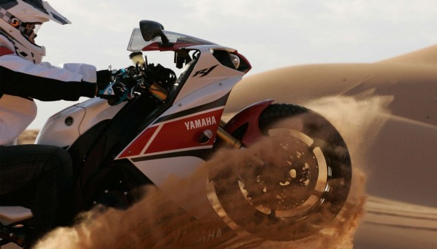 Yamahas 180hp Adventure Bike is Our Kind of Crazy Yamaha YZF R1 sand dunes 05 635x363