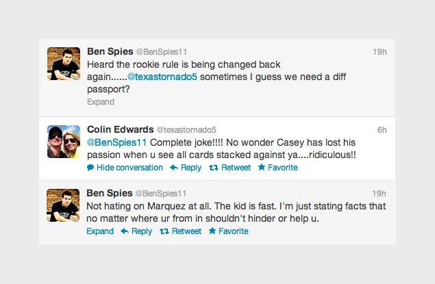 Ben Spies Comments on MotoGP Dropping the Rookie Rule Ben Spies Colin Edwards Rookie Rule Twitter