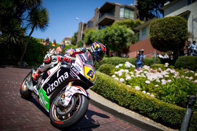 LCR Hondas Stefan Bradl Rides thru San Francisco LCR Honda Stefan Bradl San Francisco US GP 09 635x423