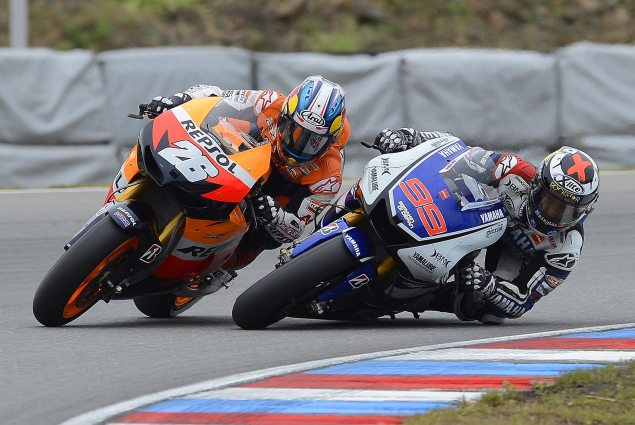 Sunday Summary at Brno: Of Racing Like Champions, Bad Luck, & Replacement Riders Dani Pedrosa Jorge Lorenzo Brno Pass 635x425